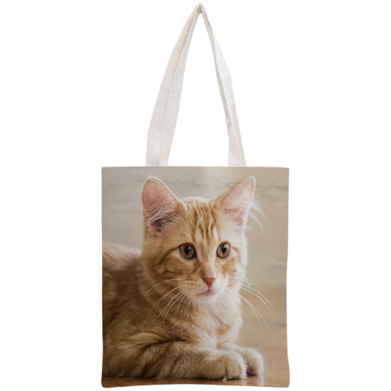 Custom Cute Cat Tote Bag Reusable Handbag Women Shoulder Foldable Cotton Canvas Shopping Bags