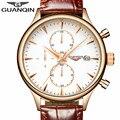 GUANQIN Mens Relojes de Primeras Marcas de Lujo del Relogio masculino Moda Cronógrafo Fecha Reloj de Cuarzo Deporte de Los Hombres Correa de Cuero Reloj de Pulsera