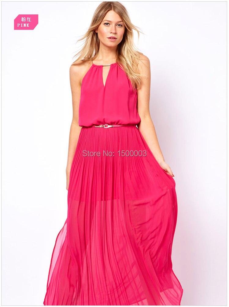Online Shop 2015 brand new women slim sleeveless Chiffon floor ...