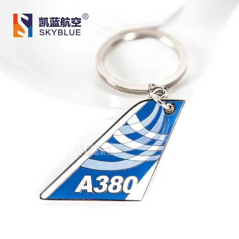 Blue Airbus A380 Tailplane Shape Travel Luggage Tag , Unique Gift for Pilot Aviation Lover Flight Crew School