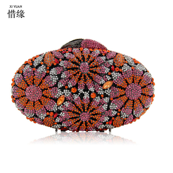XIYUAN BRAND New Design Women Clutches Metal red Flower Pattern Hard Case Evening Bags Diamond Clutch Purses for Bridesmaids все цены