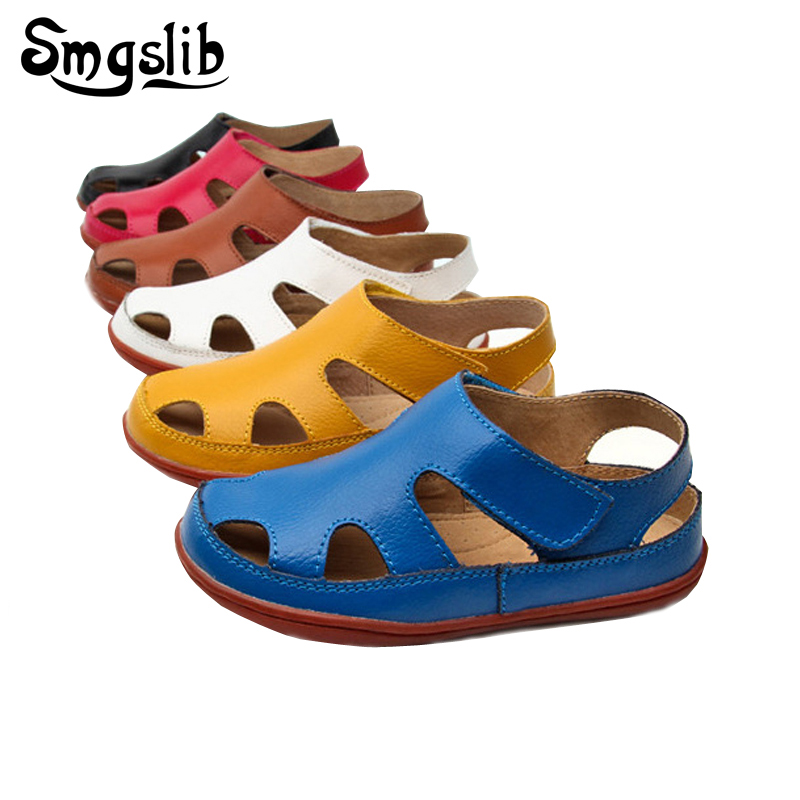 Size25-37 Genuine leather Casual kids sandals 2018 summer toddler boys beach shoes Flat little girls gladiator sandals