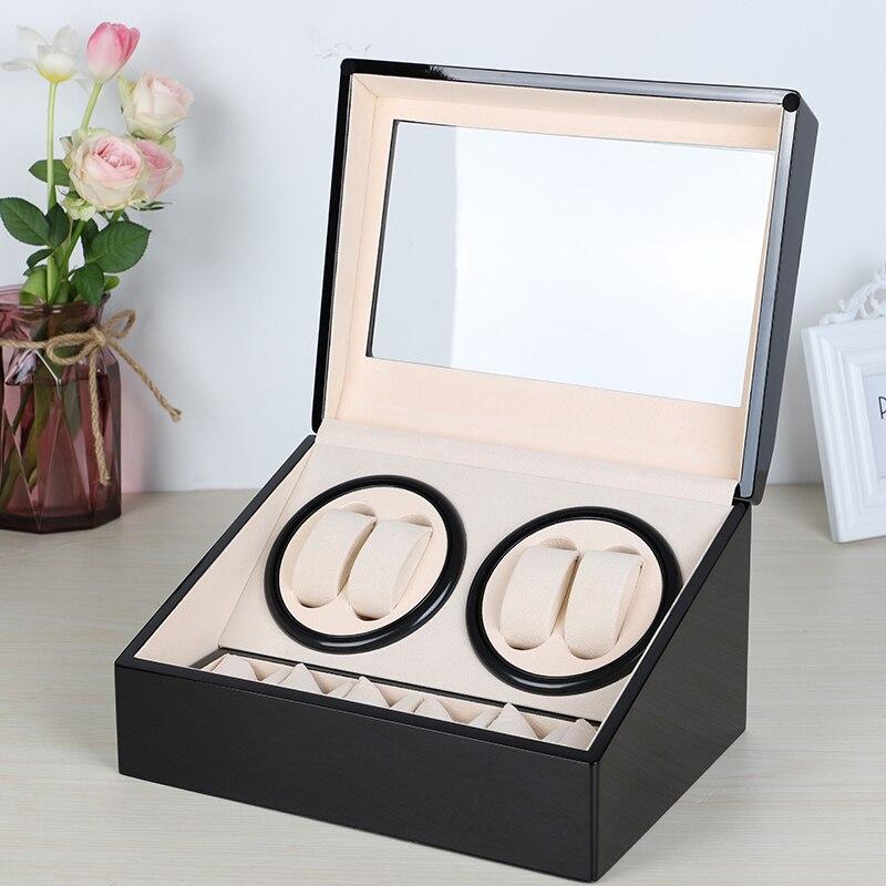 US/EU/AU/UK Plug Automatic Mechanical Watch Winders Storage Box Case Holder 4+6 Collection Watch Display Jewelry Black | Watch Boxes