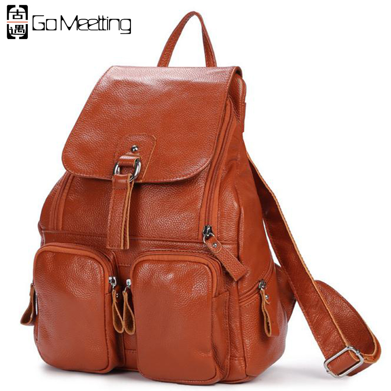 Go Meetting Genuine Leather Women Backpack Cowhide More Than Pocket Women School Bag High Quality Travel Backpacks WB25 new 2016 patchwork genuine leather women s backpack flowers cowhide women shoulder bag school bag ms travel backpacks wb35