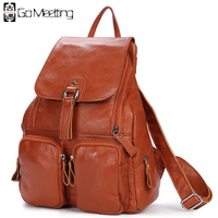Classic Han Edition Hit New Head Layer Cowhide Leather Backpack Hand Bag More Pocket Bag