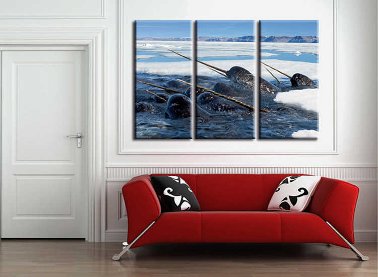 3 pieces / set Sea Life Narwhal canvas painting wall art poster print Pictures Living room home Decor wall hanging