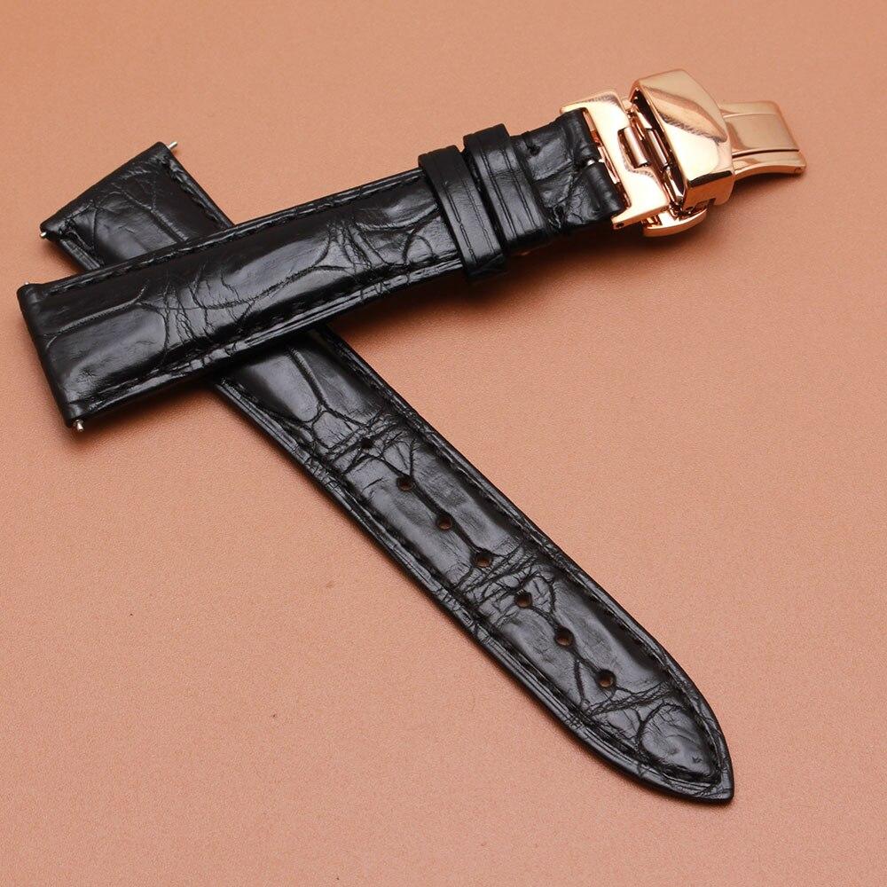 Promotion Effacer Stock Prix bracelet alligator bracelet en cuir 20mm boucle 16mm rosegold boucle pour marque montre-bracelet remplacement
