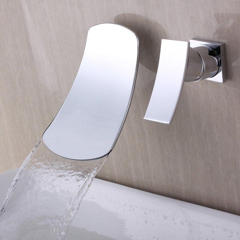 Современная Ванная комната хромированная настенная с одной ручкой водопад раковина для ванны смеситель кран