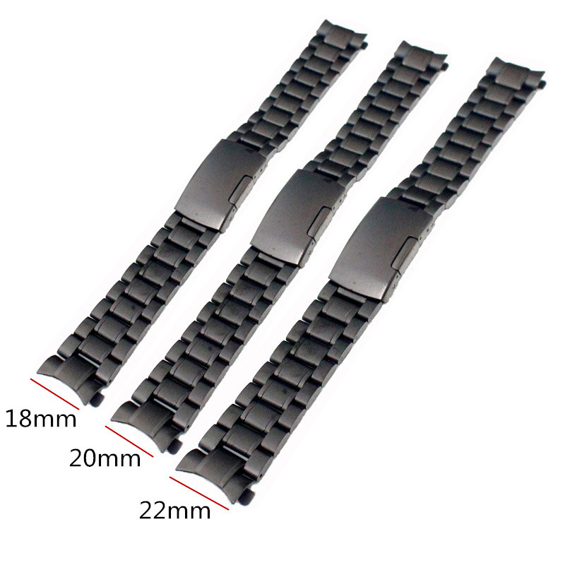 Hot Sale Black 18mm 20mm 22mm New Mens Stainless Steel Watchband Bracelet Strap Solid Link Replacement Wrist Watch Bands цена 2017