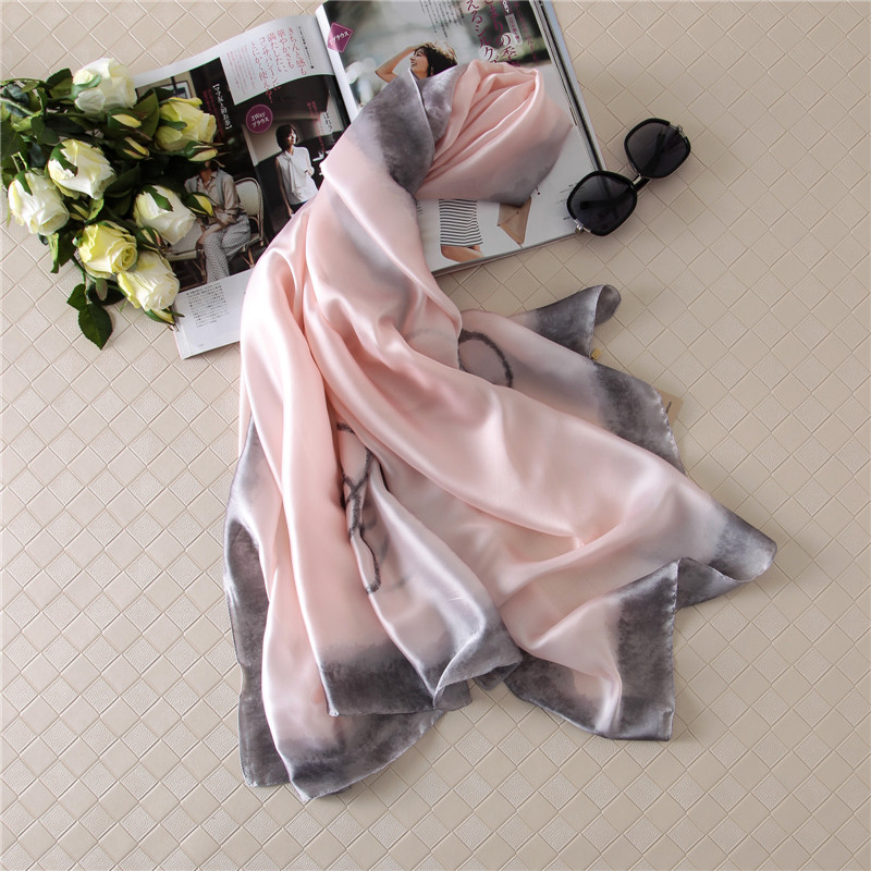 Chiffon Satin Ladies  Flower Pattern  Scarf Shawl Wrap