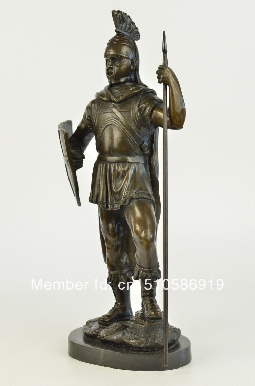 Bronze Statue on Marble Roman Soldier Spartan Warrior ...