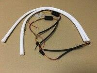 2x 60cm White Amber Flexible Headlight Head Lamp Switchback Strip Tube