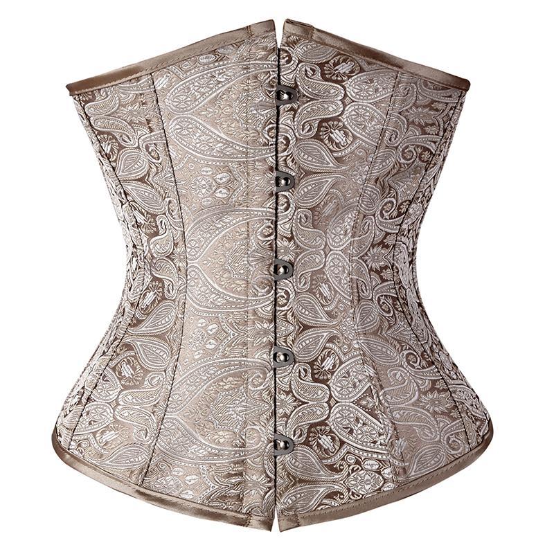Floral Pattern Underbust Vintage Waist Trainer Corset Top ...