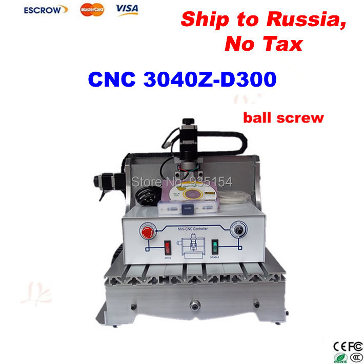 Woodworking CNC Router 3040Z-D 300W spindle, Engraving / Cutting / Milling Machine, Free ship to Russia, no tax !  cnc router 3020z d 300w spindle 3 or 4axis cnc cutting machine