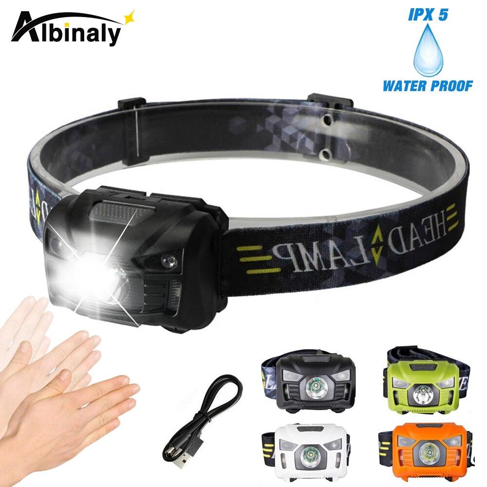 Albinaly 5 Watt LED Körperbewegungssensor Scheinwerfer Mini Scheinwerfer Wiederaufladbare Outdoor Camping Taschenlampe Stirnlampe Lampe Mit USB