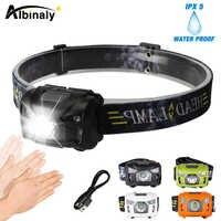 Albinaly 5 w led corpo sensor de movimento farol mini recarregável acampamento ao ar livre lanterna cabeça tocha lâmpada com usb