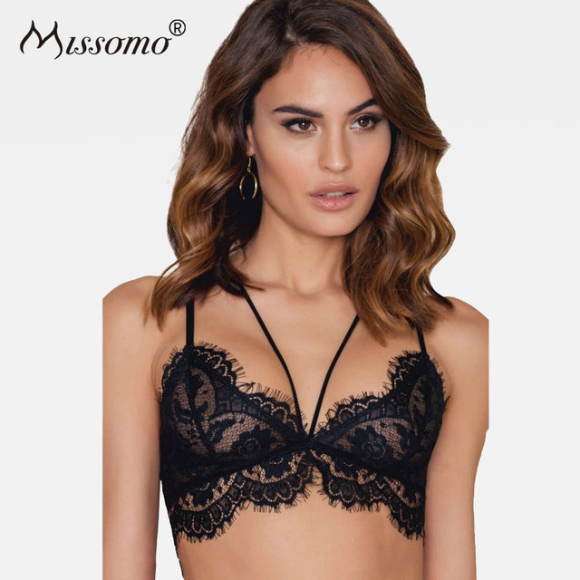 dde35fde7c Missomo Solid Black Sexy Bras Push Fitted Soft Adjustable Straps Bralettes  Sheer Mesh Patchwork Lace Up Underwear