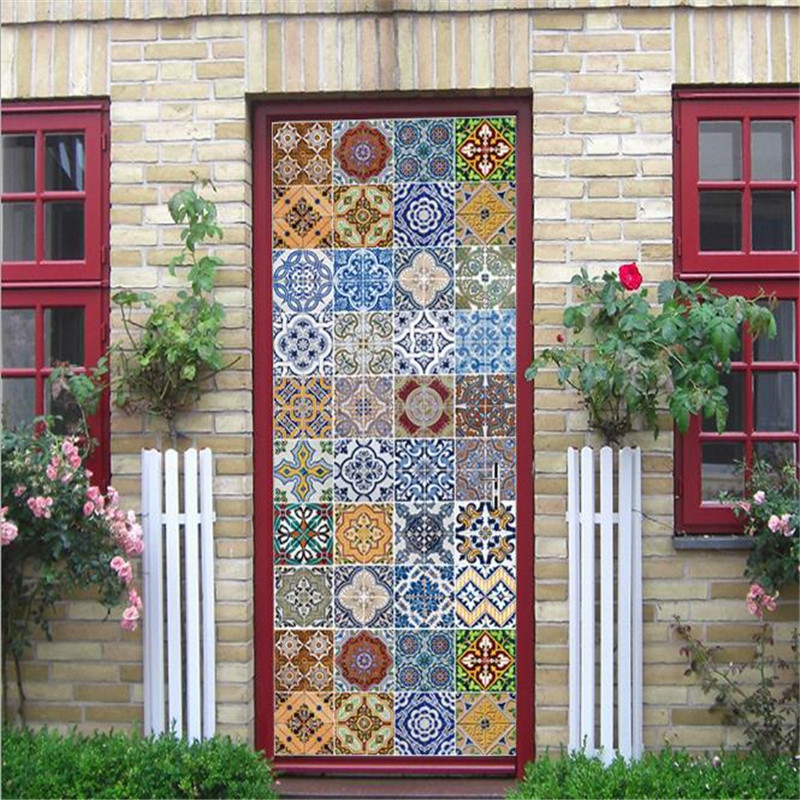 3D Door Stickers Bohemia Florals PVC Self-Adhesive Home Decoration 3D Wall Sticker For Doors Wallpapers For Living Room Bedrooms