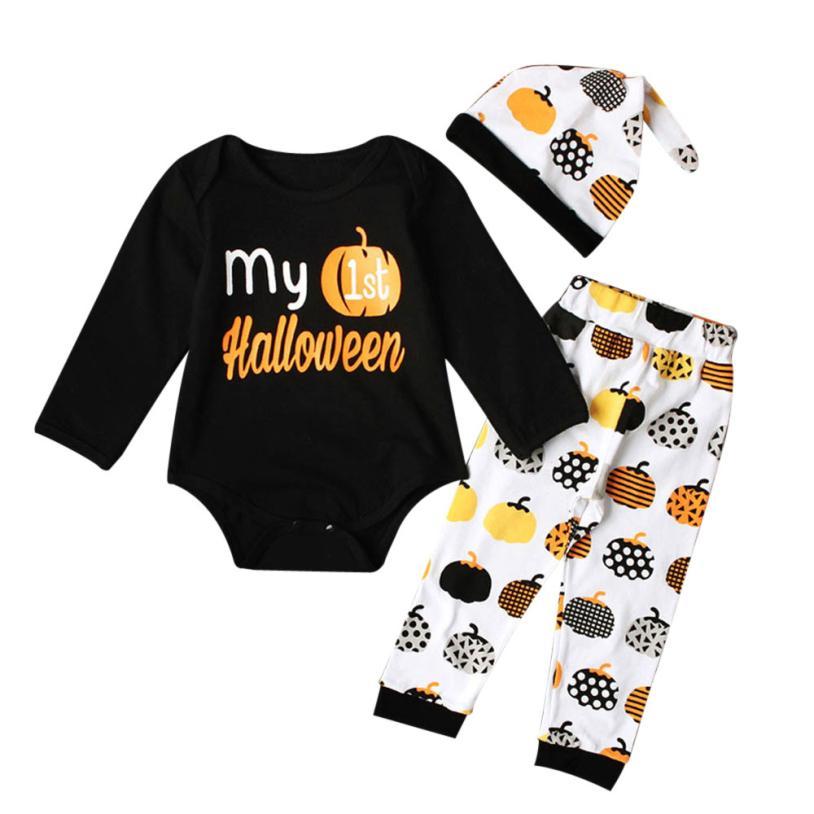 Newborn Infant Baby Girl Boy Pumpkin Romper Top+Pants+Hat Halloween Outfits Set L9012