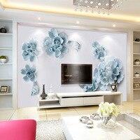 13ca6cae0a41b9 Custom 3D Wallpaper Mural Decor Photo White Background Blue Flowers  Wallpaper Mural Painting For Living Room