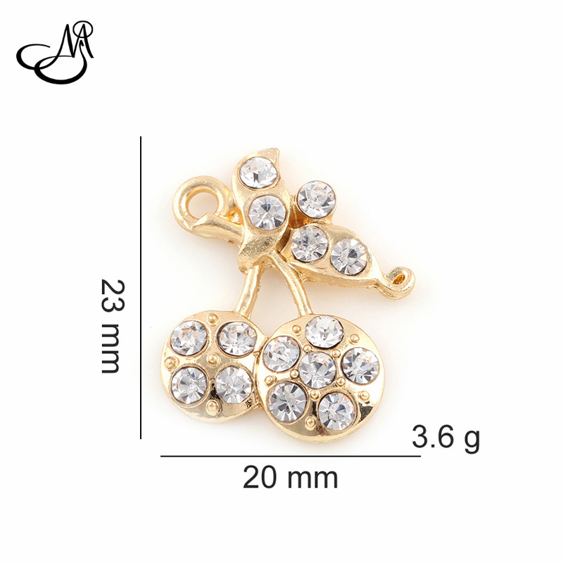50pcs/lot Crystal Litchi Charms Dangle Metal Alloy Charm fits Pendants for jewelry making FA443
