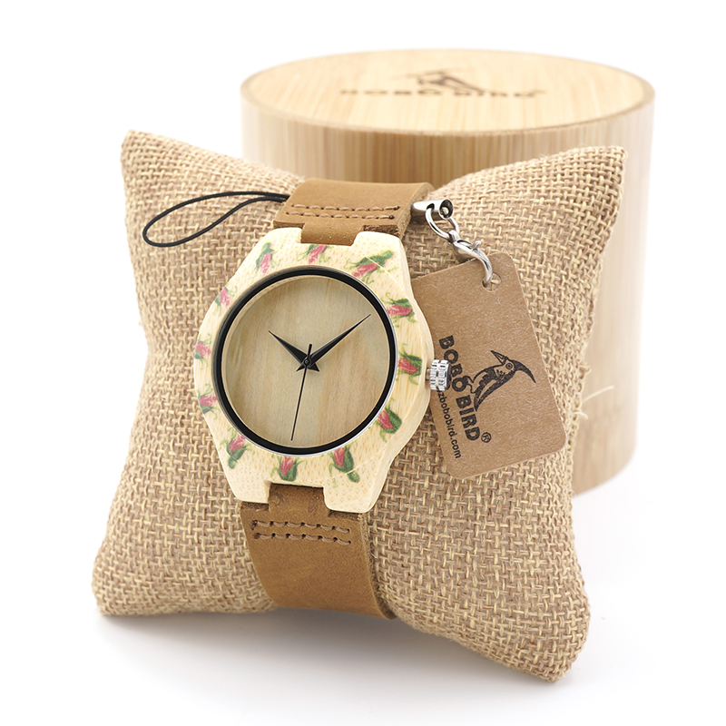 все цены на  BOBO BIRD Bamboo Wooden Watch Ladies Japanese 2035 Movement Quartz Wristwatch with Genuine Leather Band in Gift Box  в интернете