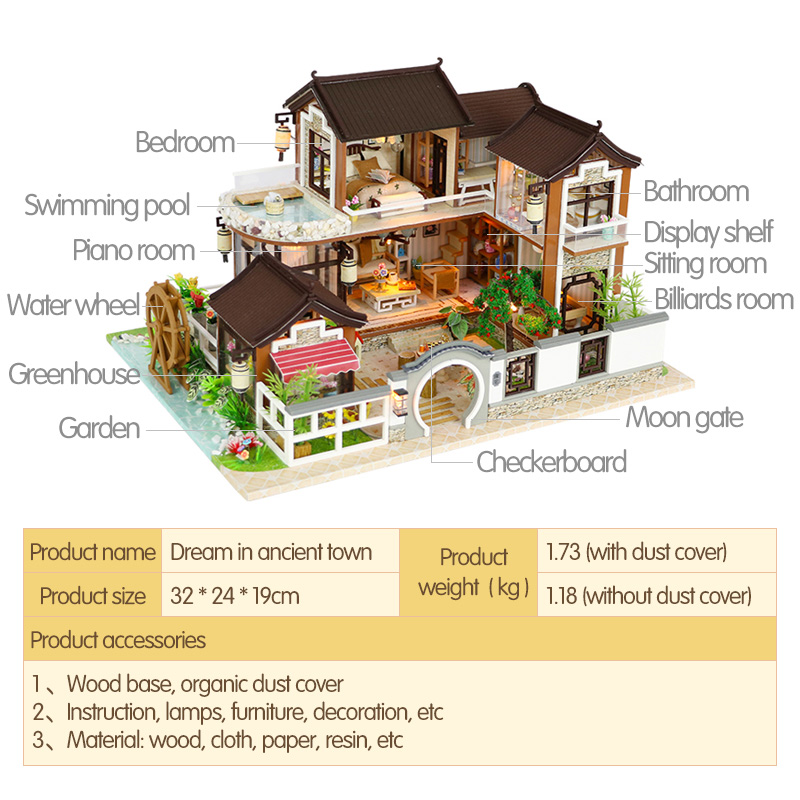 Architecture/diy House/mininatures Qualified Diy Miniature Dollhouse Dream Back To Ancient Town House With Furniture Vintage Building Kits 3d House For Dolls Children Toys Relieving Rheumatism Model Building