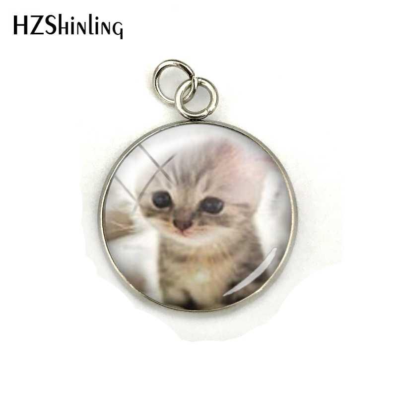 Đáng yêu Mèo Dễ Thương Động Vật Mèo Kính Cabochon Dome Thép Không Gỉ Mạ Quyến Rũ Mặt Dây Chuyền Tay Craft Trang Sức Phụ Kiện