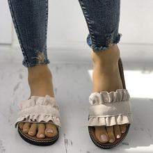 Kobiety kapcie płaskie buty kobieta letnia plaża Slip On slajdy klapki sandały damskie modne pantofle domowe damskie buty damskie tanie tanio Dla dorosłych Tkaniny Stałe Gumowe 0193 Lato Kryty Pasuje prawda na wymiar weź swój normalny rozmiar Ruffles Niska (1 cm-3 cm)