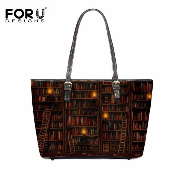 FORUDESIGNS Bolsa Feminine Cute Book Shelf Women High Quality Casual Bags Animal Cat Female Large Tote Shoulder Bags Handbags