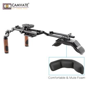 Image 5 - Camvate dslr câmera/filmadora ombro rig com almofada de ombro montagem & tripé placa de montagem & arri roseta dupla haste braçadeira & handgrip