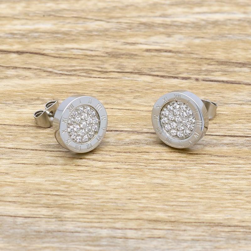 Round Shine AAA Zirconia Earrings For Women Fashion Jewelry Stainless Steel 10MM Diameter Stud Earrings Men brincos Boy Girls