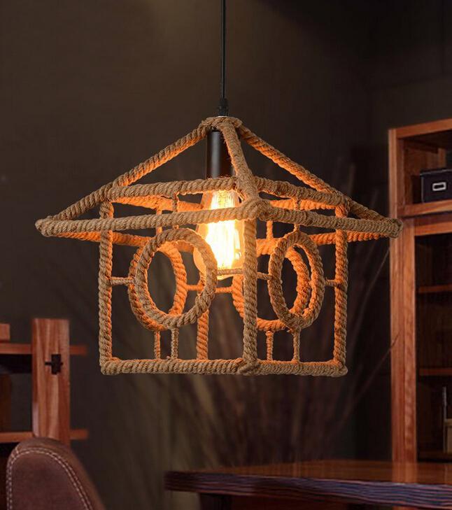 Американский промышленный старинные чердак творческий конопли веревкой дом подвесной ресторан кафе украшения ретро лампы бесплатная дост…