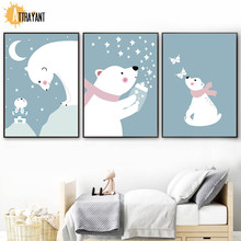 Bear Rabbit Star Moon Wall Art Canvas Painting Nordic Posters And Prints Pictures Kids Bedroom Baby Room Scandinavian Decor