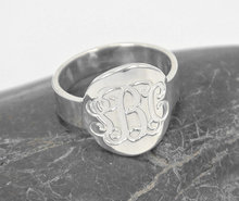 Wholesale Engraved Monogrammed Ring Personalized Initial Sterling Silver Name Custom Jewelry Christmas Gift timbre personalizado