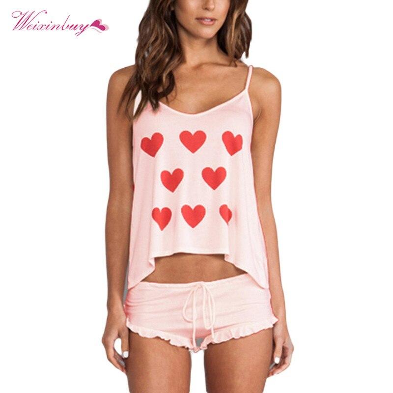 Summer Women Casual Sleepwear Cotton Blend Spaghetti Strap Women Tops + Shorts Print Shirt   Pajama     Set   Woman Nightwear   Sets