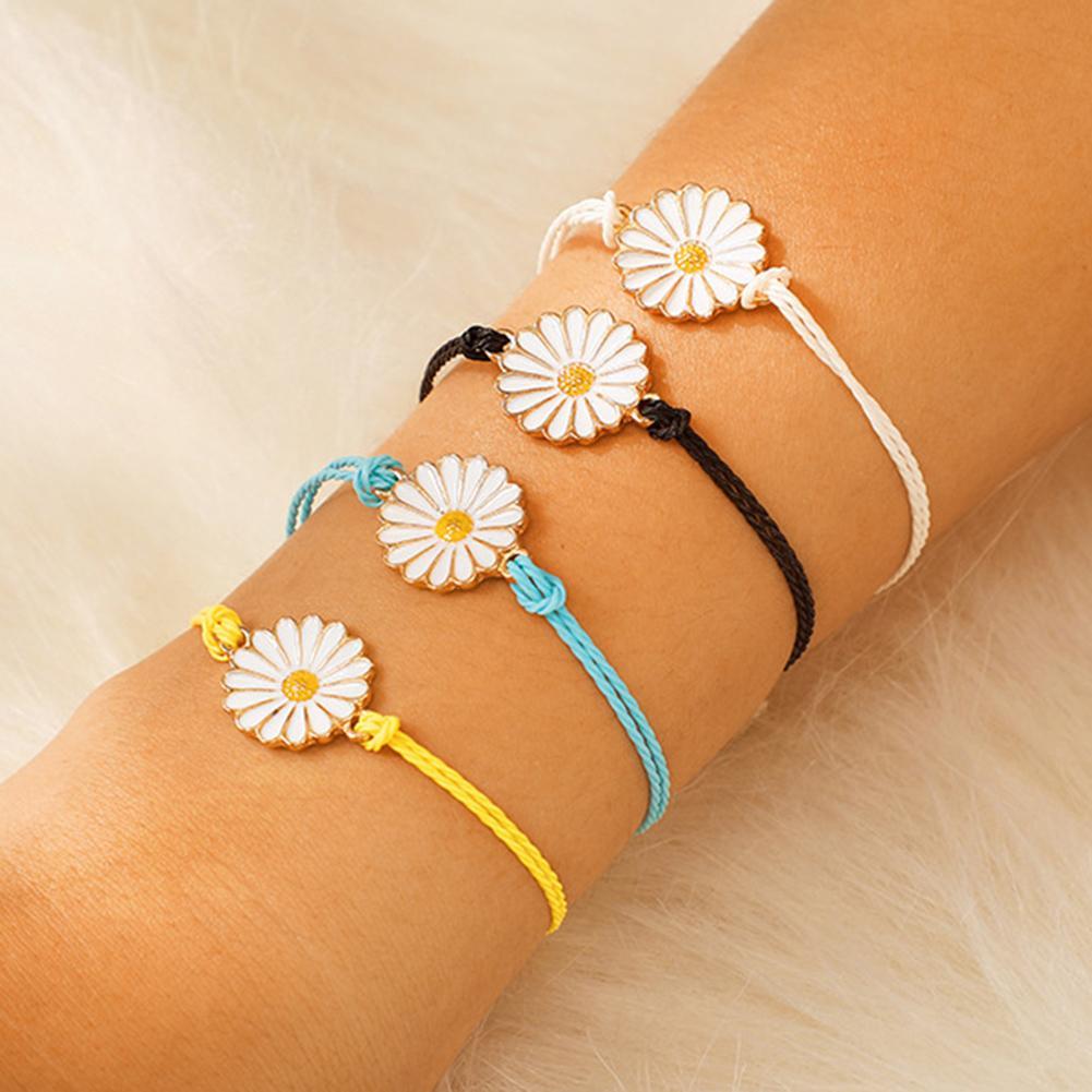 Женский браслет в стиле бохо, с ромашками и цветами, 4 шт./компл., ручной плетеный браслет, ювелирный браслет, вечерние украшения на запястье, ...