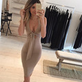 Womens Fashion Brand New Sleeveless Hollow Out Tie Knot Sexy Halter Club Nightclub Party Casual Sheath Bodycon Midi Dress