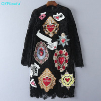 High Quality New 2017 Fashion Runway Black Lace Dress Women S Long Sleeves Luxury Beading Embroidery