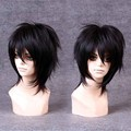 MCOSER 30cm  Black Short Hair Lolita Party Synthetic Hair Wig Vogue Sexy Male Cosplay Anime Wigs