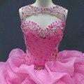 Rosa vestido de Baile Quinceanera Vestidos O Neck Mangas Beading Plissados vestido de Baile Doce 16 2017 Vestido Vestidos de 15 anos