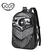 New 3D shoulder bags men and women leather backpacks creative bullet rivets laptop Embossed relief student