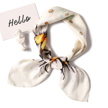 Scarf Women Fashion Silk Square Scarves Female Neckerchief  Floral Print Foulard Office Ring Scarfs Hijab