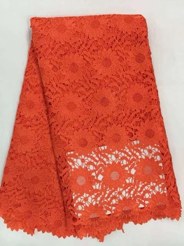 African Lace Hot Sell Mesh 2019 New Arrival Plain ORANGE Color African cord Lace/guipure lace Fabrics High Quality AMZ655