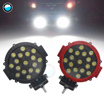 2pcs 7 inch  black red 4x4 offroad car spot beam  51w LED Driving Light Work Light 4x4 Offroad For Truck