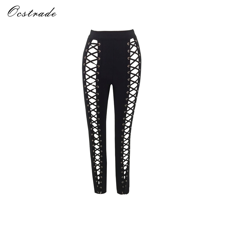 Ocstrade New Arrival 2017 Fashion High Waist Women Sexy Lace up Bandage Pants Black-in Pants & Capris from Women's Clothing    1