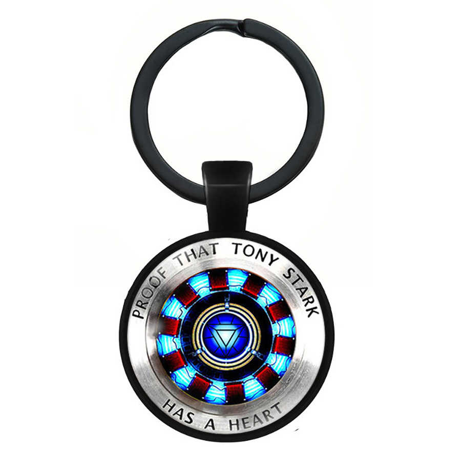 2019 new Iron Man Keychain Tony Stark Heart Arc Reactor 3D Effect Glass Cabochon Pendant Key Chain