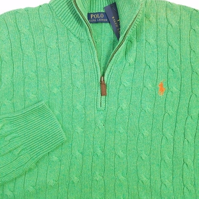 Polo Ralph Lauren Mens Cable Knit Sweater Green Silk Sz M Nwt 145