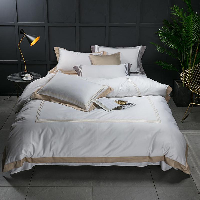 FAMVOTAR Bedding-Set Stitch Bed-Linen Egyptian Cotton White Golden Queen Embroidered