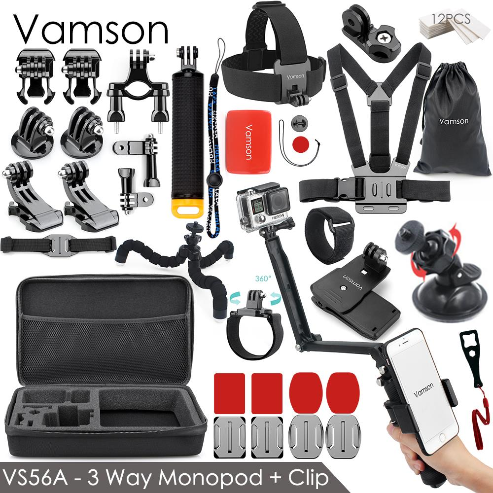 Vamson for Gopro 7 Accessories kit for xiaom yi 4k for gopro hero 7 6 5 4 3 kit mount for SJCAM SJ4000 / eken h9 tripod VS56 for gopro hero 4 accessories flat curved adhesive mount base with vhb for gopro hero 5 4 3 session sjcam sj4000 sj6000 h9 kits